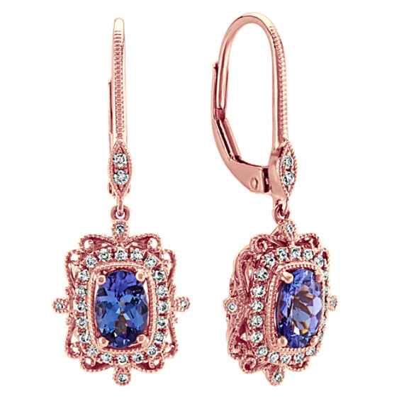 Vintage Dangle Tanzanite and Diamond Earring in 14k Rose Gold