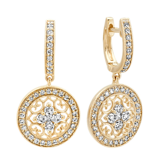 Vintage Diamond Circle Earrings