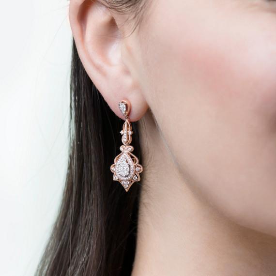 Vintage Diamond Dangle Earrings in Rose Gold image