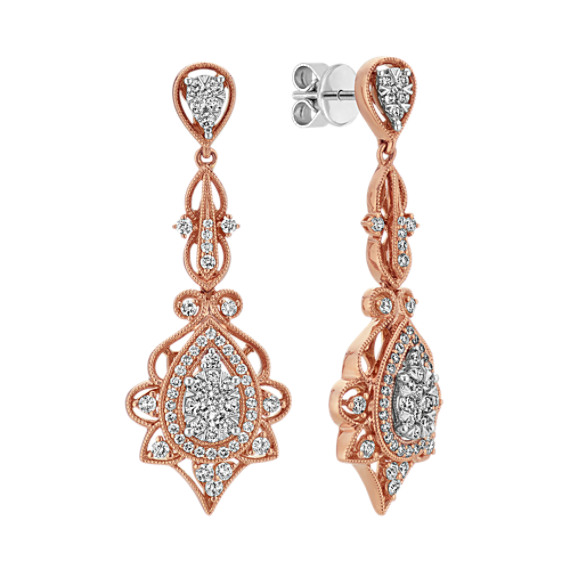 Vintage Diamond Dangle Earrings in Rose Gold