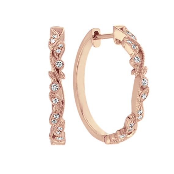 Vintage Diamond Hoop Earrings in 14k Rose Gold