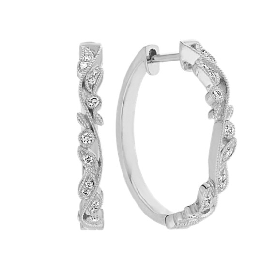 Vintage Diamond Hoop Earrings in 14k White Gold