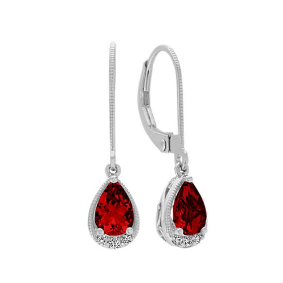 Vintage Garnet and Diamond Dangle Earrings