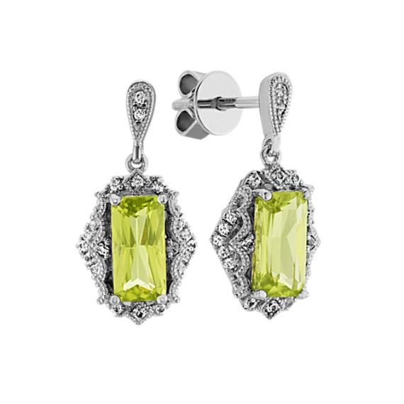 Vintage Green Peridot and White Sapphire Earrings