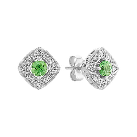 Vintage Green Sapphire and Diamond Earrings