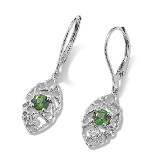 Vintage Women Radiant Asscher Green Emerald Crystal Silver Leverback Earrings