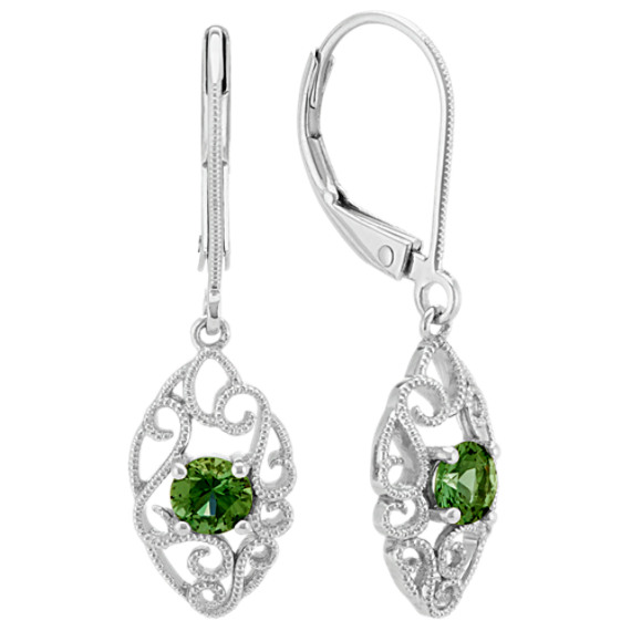 Vintage Green Shire And Sterling Silver Leverback Earrings