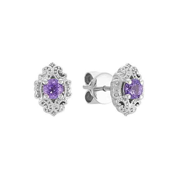 Vintage Lavender Sapphire Earrings