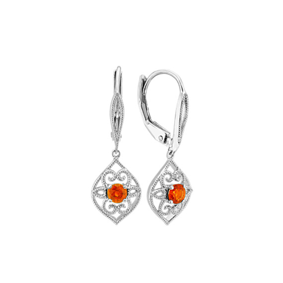 Vintage Orange Sapphire Dangle Earrings