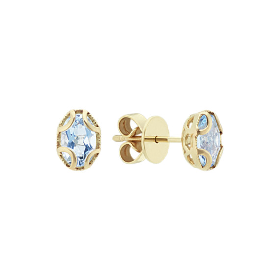 Vintage Oval Aquamarine 14k Yellow Gold Earrings