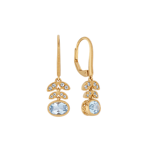 Vintage Aquamarine and White Sapphire Floral Earrings