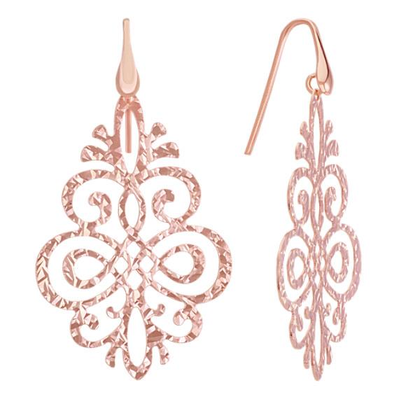 Vintage Rose Sterling Silver Dangle Earrings