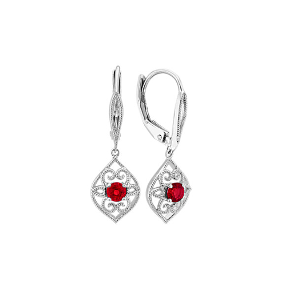 1320feb77 Vintage Ruby Dangle Earrings in Sterling Silver | Shane Co.