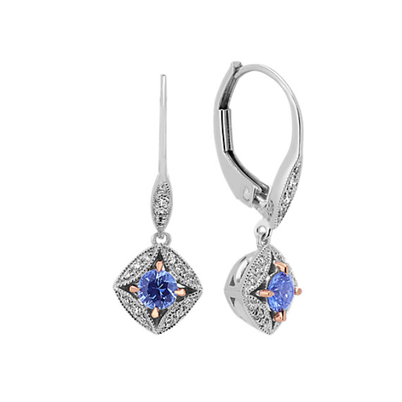 Vintage Sapphire and Diamond Dangle Earrings (18 in)