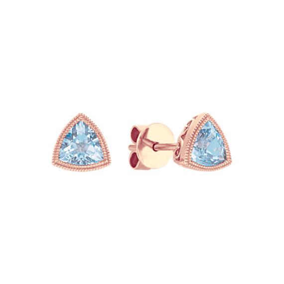 Vintage Trillion Blue Aquamarine Earrings
