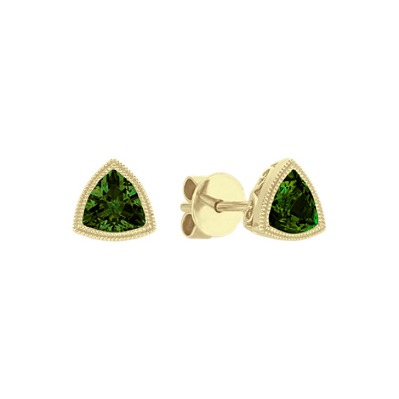 Vintage Trillion Chrome Diopside Earrings