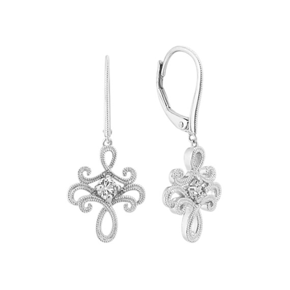 White Sapphire Dangle Earrings in Sterling Silver