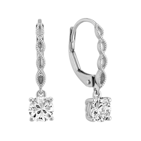 White Sapphire Earrings with Milgrain Detailing