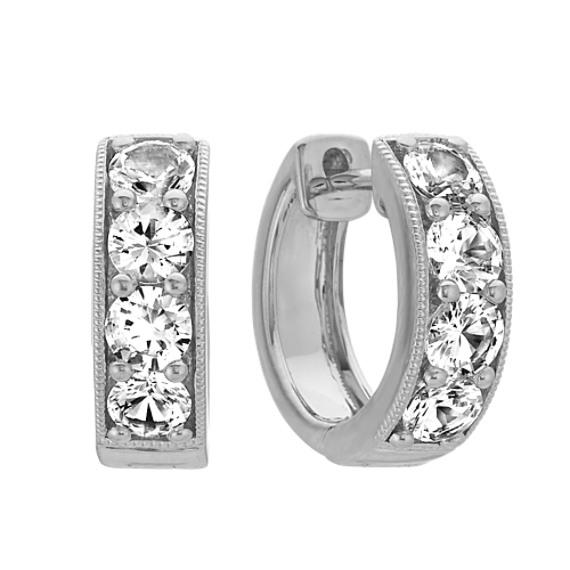 White Sapphire Hoop Earrings in 14k White Gold