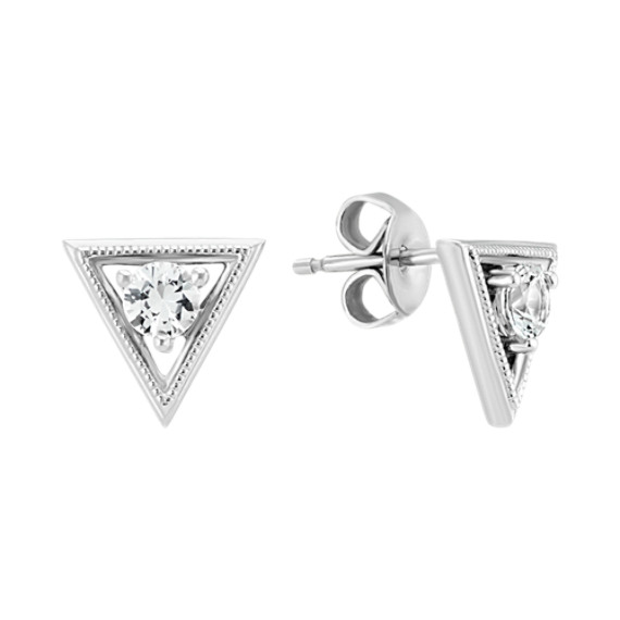 White Sapphire Triangle Earrings in Sterling Silver