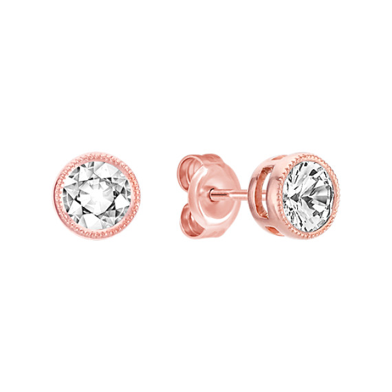 White Sapphire and 14k Rose Gold Earrings Shane Co
