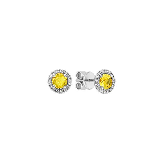 Yellow Sapphire and Diamond Halo Earrings