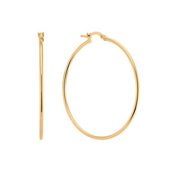 Yellow Sterling Silver 1.75 Inch Hoop Earrings