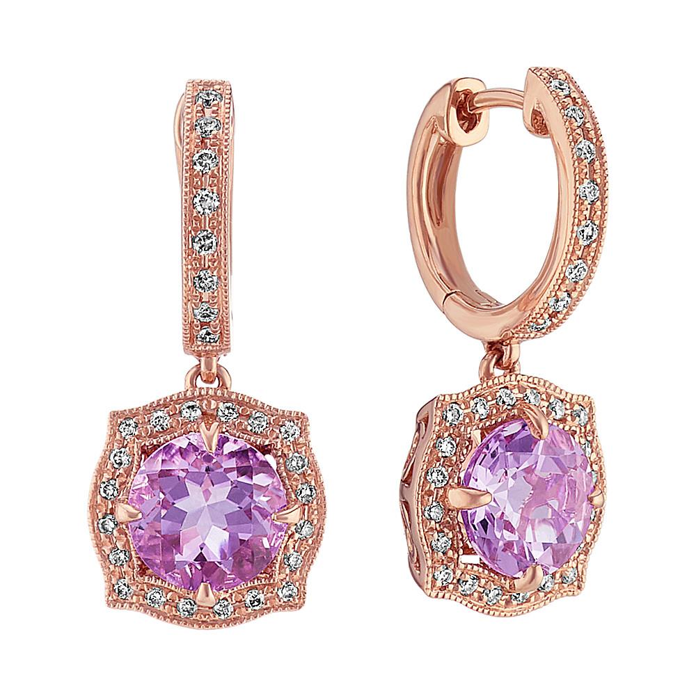 Vintage Amethyst And Diamond Earrings