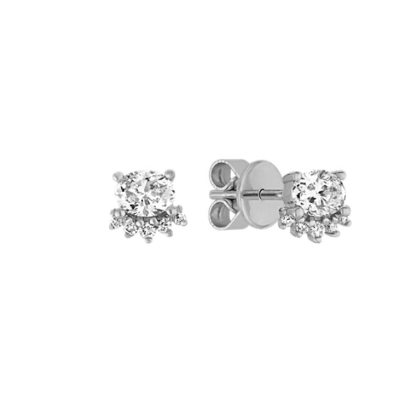 Oval and Round Diamond Earrings in 14k White Gold