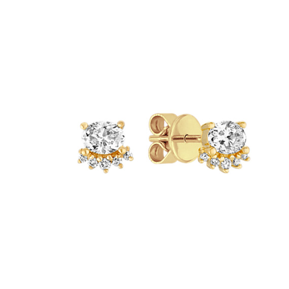 Oval and Round Diamond Earrings in 14k Yellow Gold