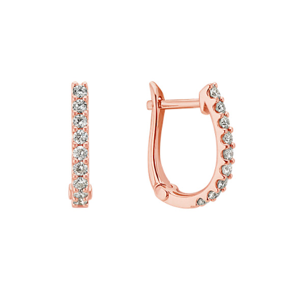 Round Diamond Hoop Earrings in 14k Rose Gold