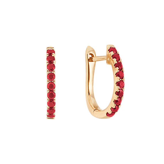 Round Ruby Hoop Earrings in 14k Yellow Gold