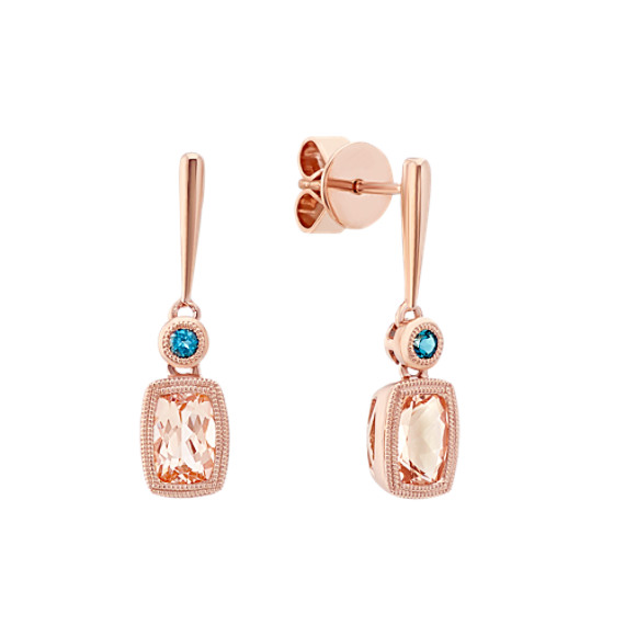 Pink Morganite And London Blue Topaz Earrings