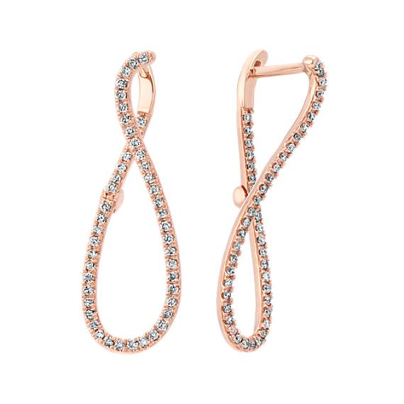 Diamond Modern Hoop Earrings in 14k Rose Gold