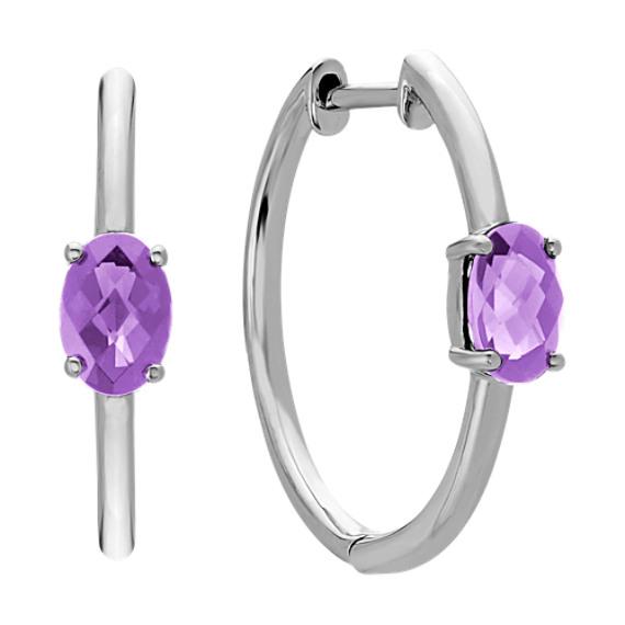 Oval Amethyst Hoop Earrings in Sterling Silver