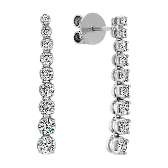Round Diamond Dangle Earrings In 14k White Gold