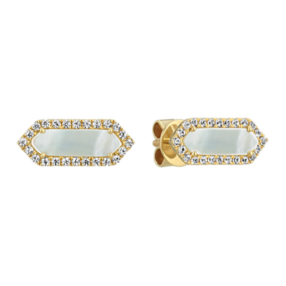 Mother of Pearl and White Sapphire Earrings