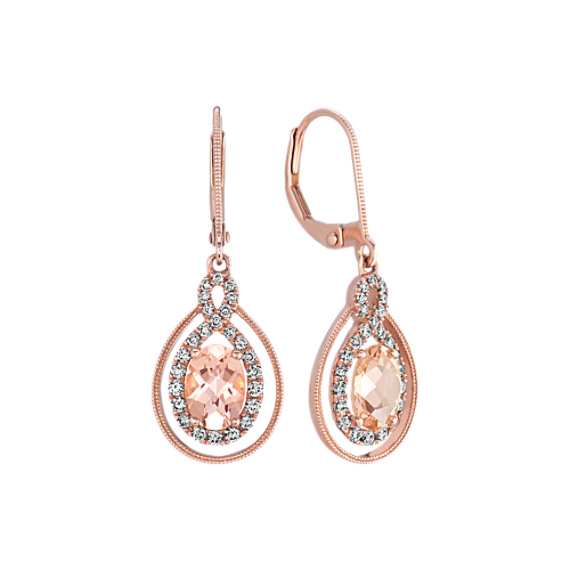 Oval Pink Morganite & Diamond Dangle Earrings