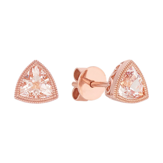 Vintage Trillion Pink Morganite Earrings
