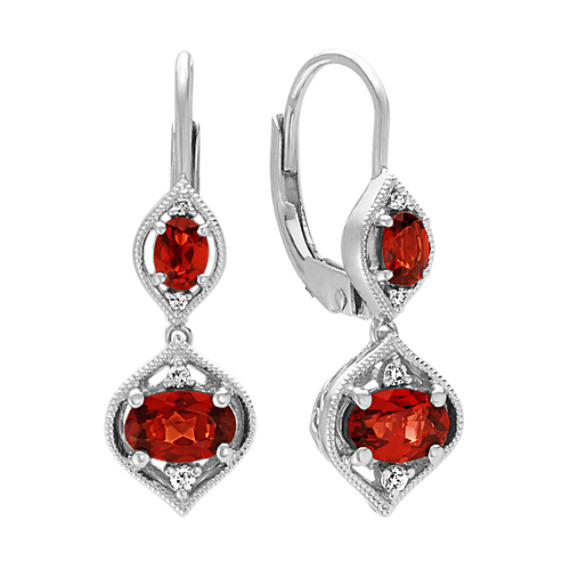 Oval Garnet and Diamond Dangle Earrings