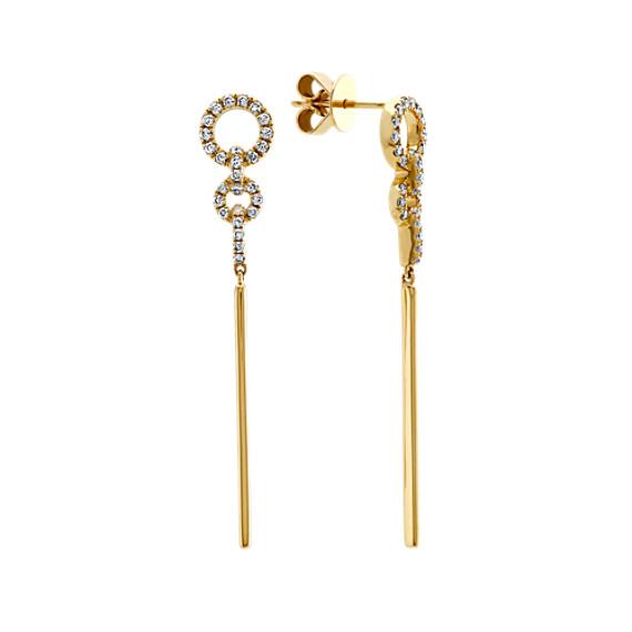 Diamond Drop Earrings in 14k Yellow Gold