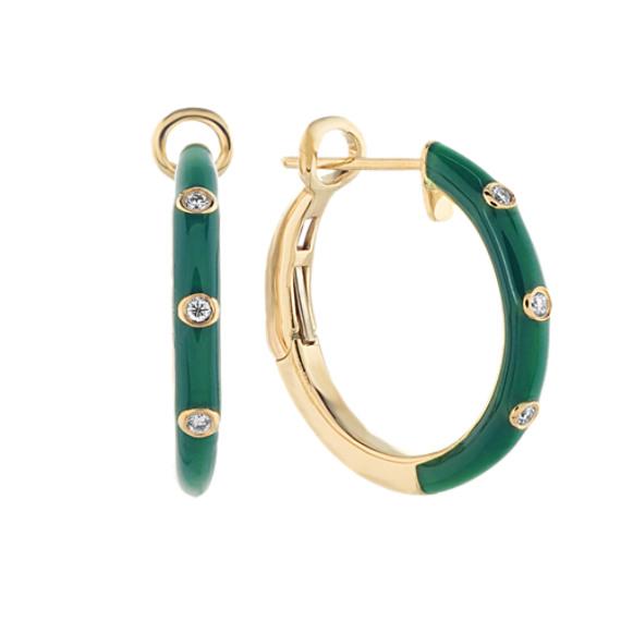 Fern Enamel and Diamond Hoop Earrings