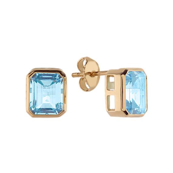 Octagon London Blue Topaz Stud Earrings
