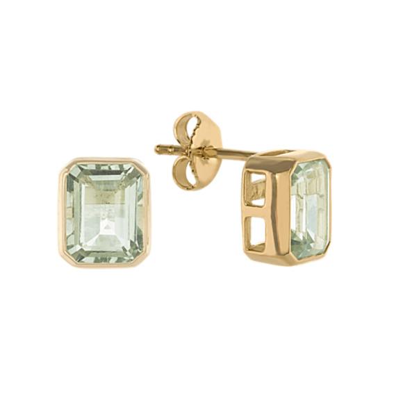 Octagon Green Quartz Stud Earrings in Vermeil