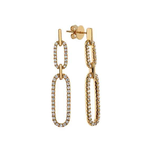Bella Link Diamond Earrings in 14k Yellow Gold