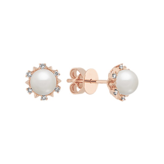 5mm Pearl and Diamond Earrings in 14k Rose Gold