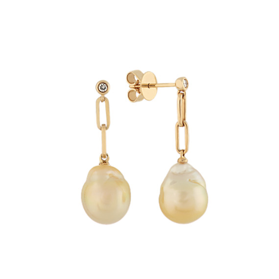 9-10mm Golden Baroque Pearl and Diamond Drop Earrings in 14k Yellow Gold