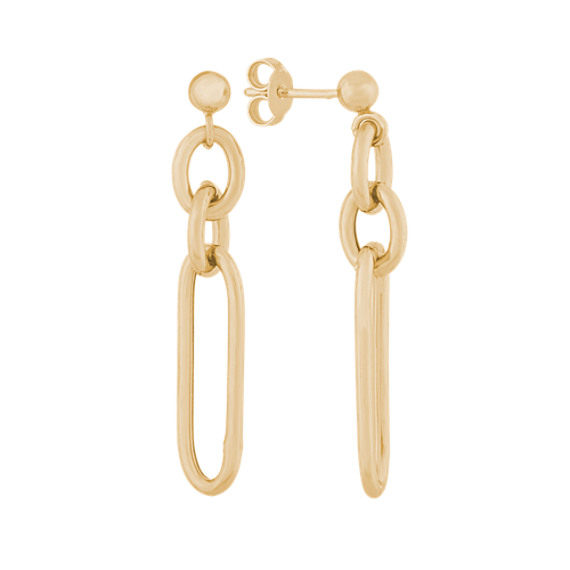 Paperclip Dangle Earrings in Vermeil 14K Yellow Gold