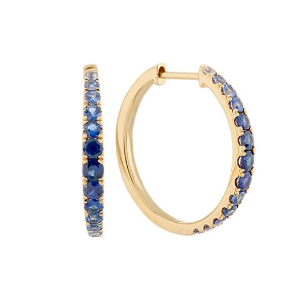 Multi Colored Blue Sapphire Hoop Earrings