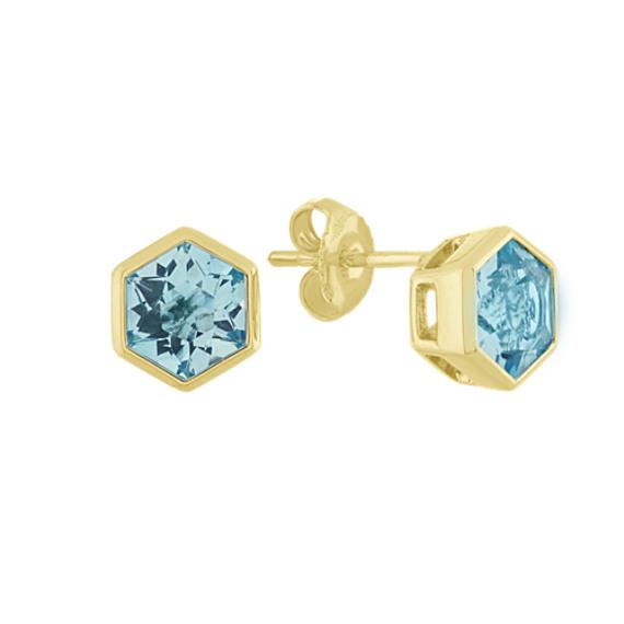 Swiss Blue Topaz Earrings in Vermeil 14k Yellow Gold